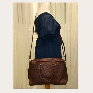Handbags - Brown Tooled Leather Messenger Satchel Bag